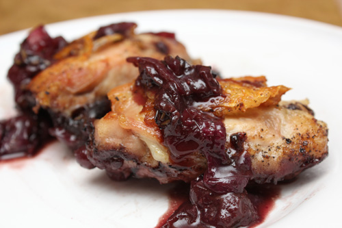 Chicken Thighs with Blueberries & Rosemary
