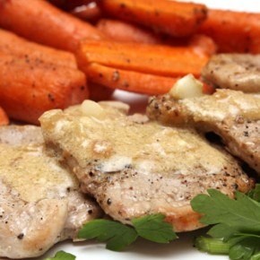 Pork Scaloppine with Mustard Pan Sauce and Baby Carrots; Genoese Farinata