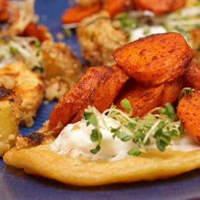 Savory Chickpea Pancakes with Smoky Roasted Carrots and Breadcrumb Roast Potatoes