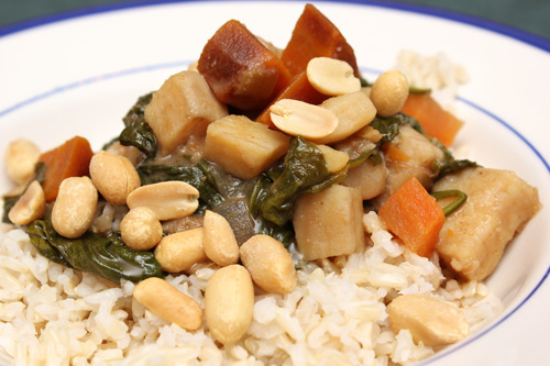 Peanut Stew with Sweet Potatoes and Spinach; Cheese Crackers | Camille ...