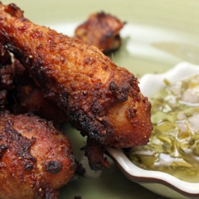 Tandoori Chicken Drumsticks with Cilantro-Shallot Relish; Sweet and Sour Broccoli Salad