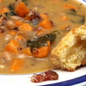 Sweet Potato Quinoa Stew with White Beans and Spinach, Bacon Cheddar Biscuits