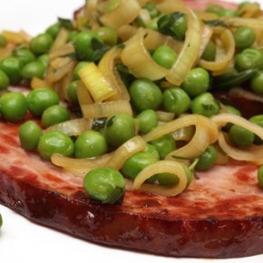 Spring Ham Steaks with Sweet Pea-Leek Pan Sauce; Asparagus-Mushroom Mini Lasagnas