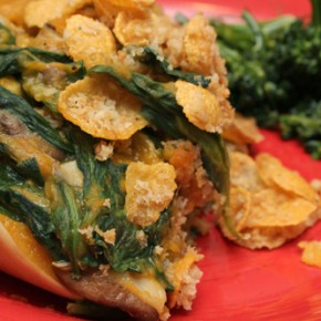 Shiitake-Stuffed Butternut with Corn-Flake Streusel; Quick Veggie Soup with Spring Lettuce