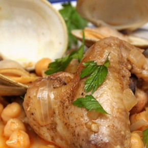 Beer-Braised Chicken Wings with Clams and Chickpeas; German Potato Salad