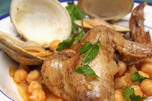 Beer-Braised Chicken Wings with Clams & Chickpeas