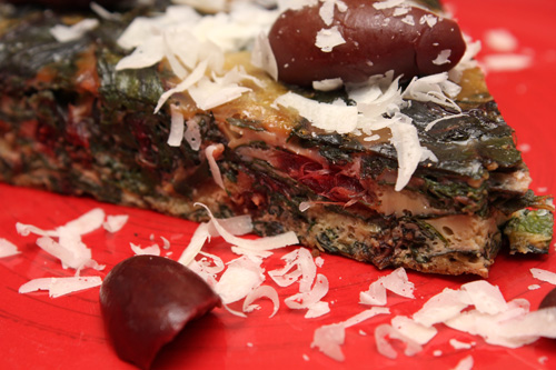 Swiss Chard Omelet with Kalamata Olives
