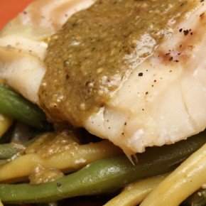 Poached Cod and Green Beans with Pesto