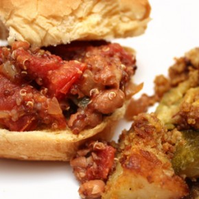Pinto Bean and Quinoa Sloppy Joes; Zucchini Potato Casserole