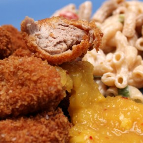 Pork Nuggets with Pineapple-Mustard Sweet and Sour Sauce; Polynesian Macaroni Salad