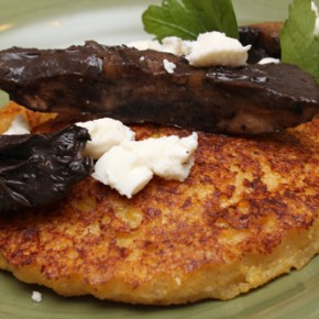 Polenta Cakes with Portobello Mushrooms and Burrata