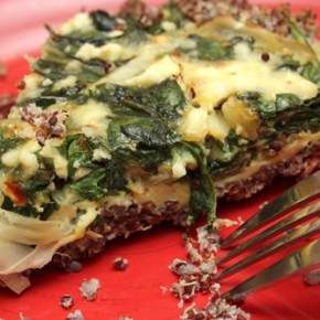Golden Beet Soup with Toasted Grains; Spinach and Feta Quiche with Quinoa Crust