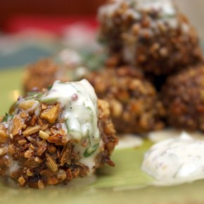 Nut-and-Seed-Crusted Sausage Meatballs with Mustard Sauce