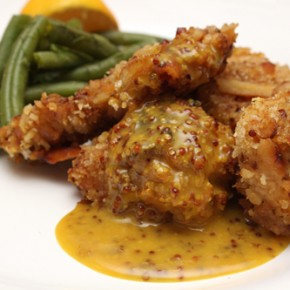 Pretzel-Crusted Chicken with Honey Mustard; Caper-Dill Green Beans