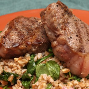 Lamb Chops with Farro, Arugula, and Lemon-Thyme Vinaigrette; Roasted Sweet Potatoes with Pecans