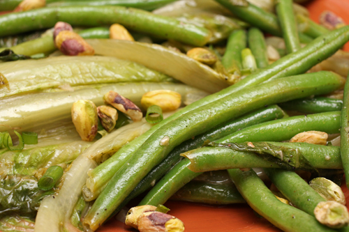 Warm Green Beans & Lettuce in Anchovy Butter