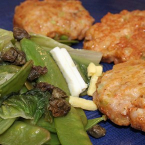 Shrimp Cakes; Stir-Fried Snow Peas and Romaine