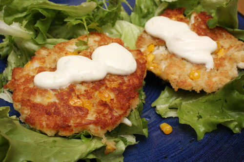 Crab & Corn Cakes w/Lime Sour Cream