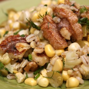 Alsatian Pizza; Corn-and-Barley Salad