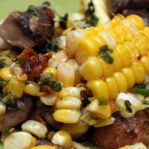 Glazed Agrodolce Ribs; Sweet Corn Salad with Pancetta and Mushrooms