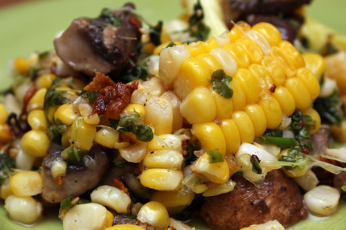 Sweet Corn Salad w/Pancetta and Mushrooms