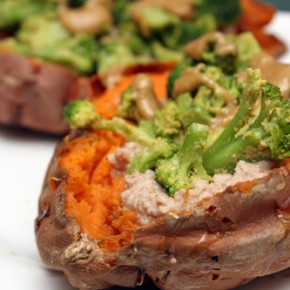Cheezy Broccoli Stuffed Sweet Potato; Chicken Rice Bowl