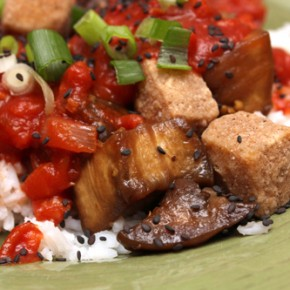 Five-Spiced Tofu with Steamed Eggplant and Cardamom Passata