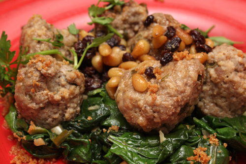 Sweet-and-Sour Meatballs w/Pine Nuts & Currants