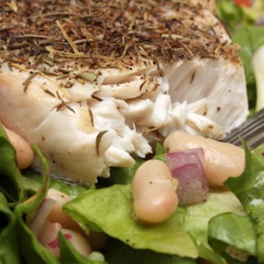 Escarole and White Bean Salad with Swordfish