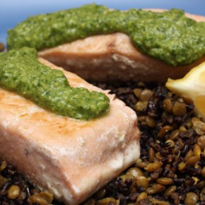 Pan-Seared Salmon with Miso Watercress Pesto and Lentil-Black Rice Salad