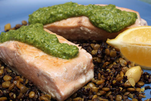 Pan-Seared Salmon w/Miso Watercress Pesto