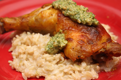 Golden Chicken w/Cilantro-Cashew Pesto & Coconut Rice