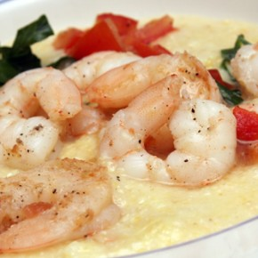 Peppered Shrimp with White Bean and Cauliflower Puree; Snap Pea Saute