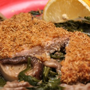 Crispy Shake-and-Bake Pork; Chinese-Style Braised Mushrooms and Mustard Greens