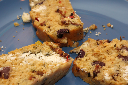 Goat Cheese, Bacon and Olive Quick Bread