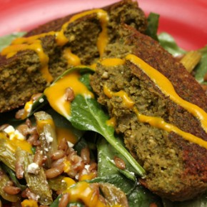 Chickpea and Spinach Burgers; Asparagus Salad with Turmeric Tahini Dressing