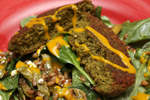 Chickpea and Spinach Burgers; Asparagus Salad with Turmeric Tahini ...