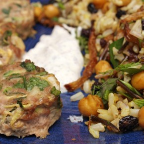 Turkey and Zucchini Burgers with Green Onion and Cumin; Basmati and Wild Rice with Chickpeas, Currants and Herbs