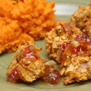Cornflake-Crusted Pork Nuggets with Mojo Glaze; Mashed Sweet Potato with Jalapeno Pepper