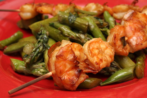 Grilled Shrimp Skewers w/Charred Asparagus and Snap Peas