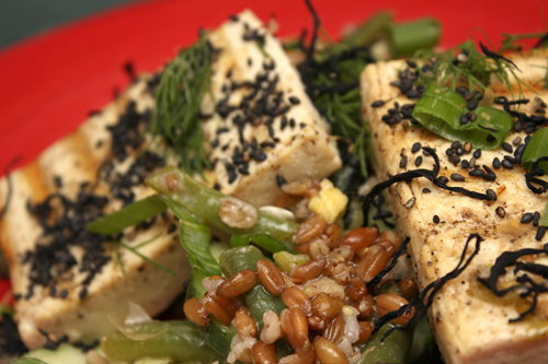 Freekeh with Grilled Tofu and Miso-Lime Dressing | Camille Cooks