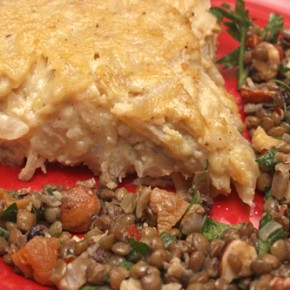 Brown Ale Lentil Salad with Hazelnuts and Dried Fruits; Onion Pie