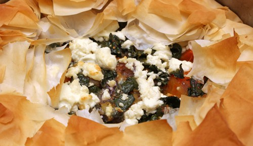 Skillet Phyllo Pie with Butternut Squash, Kale, and Goat Cheese