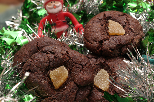 Fudgy Chocolate Cookies with Candied Ginger