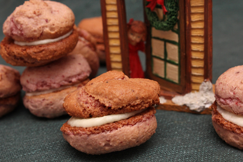 Strawberry Macarons with Honey Peppermint Frosting