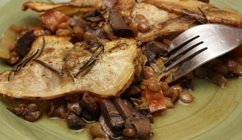 Baked Balsamic Lentil Stew with Mushrooms and Rosemary Potatoes