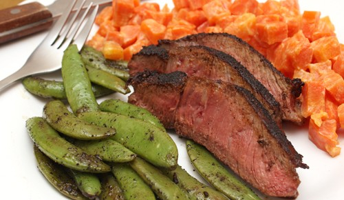 Spiced and Seared Flank Steak with Carrot Mash and Snap Peas