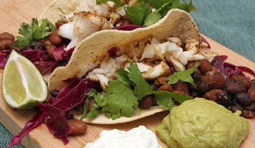 Fish Tacos with Red Cabbage, Jalapeno, and Lime Slaw