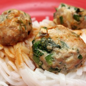Ginger Pork Meatballs with Cilantro and Fish Sauce; Smashed Sichuan Cucumber Salad