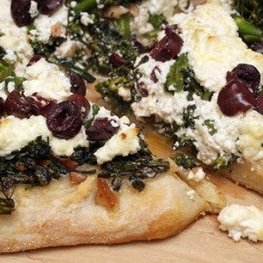 Pizza with Broccolini, Ricotta and Olives